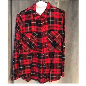 Liberty Love Red Black White Plaid Flannel